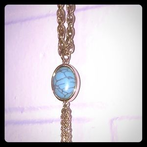 Long gold necklace w/ Turquoise stone & tassel